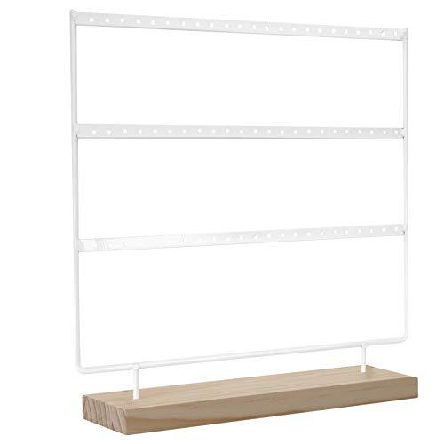 Cabilock Soporte para joyas y pendientes, color blanco, marco de madera, base para pendientes, collares, pulseras, joyas, organizador, expositor de escritorio, almacenamiento de tocador.