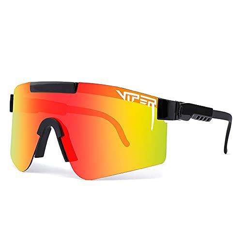 QQWJSH Gafas de Sol al Aire Libre polarizadas UV400, Gafas de Sol a Prueba de Viento de los Hombres de Las Mujeres para la Resaca del esquí del Golf de la Pesca en Bicicleta