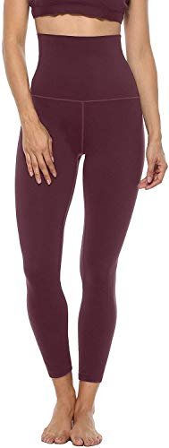 Anwell Thermounterteile Für Damen Sport Leggins Po Push Up Leggins Fitness Leggings Lang Bauchweg Blickdicht Dunkelrot XL