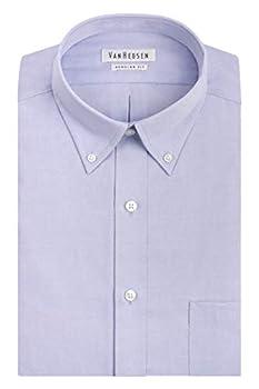 Van Heusen mens Van Heusen Men s Pinpoint Regular Fit Solid Button Down Collar dress shirts Blue 17.5 Neck 34 -35 Sleeve X-Large US