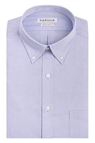 Van Heusen Men's Pinpoint Regular Fit Solid Button Down Collar Dress Shirt, Blue, 17' Neck 34'-35' Sleeve