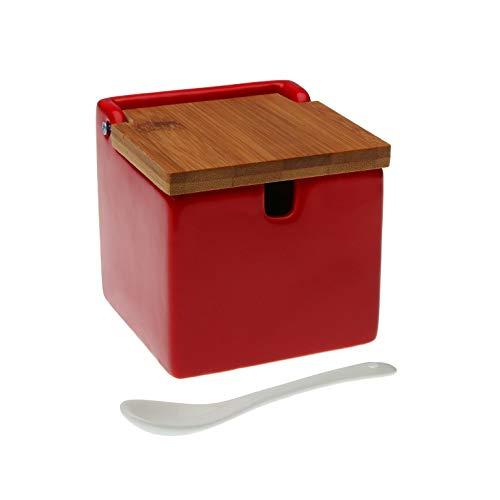 VERSA 21490016 Zuccheriera Rosso Coperchio Bambù, Non applicare