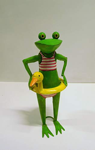 Ziegler Frosch Gartenfrosch Kanu Schwimmer Schwimmreifen Ente Bikini Gartendeko Dekofigur Garten Girl Exner Figur Metall grün 44 cm 235091 F51