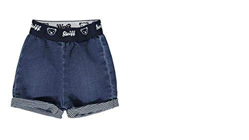 Steiff Nounours Crew Bébé Garçons Short en Jeans avec Doux Bund et Ringelabschluss L002012144 - Bleu Jeans, 80