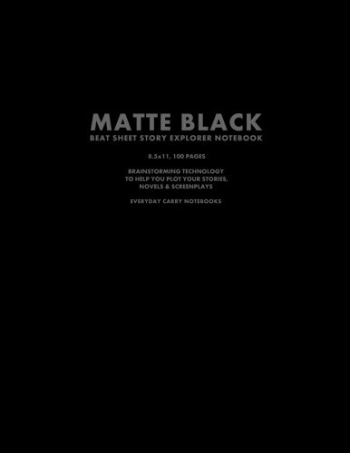 Matte Black Beat Sheet Story Explorer Notebook, 8.5 x 11, 100 Pages: Brainstorming Technology To Help You Plot Your Stories, Novels & Screenplays