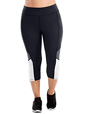 Just My Size Women's Plus Size Active Pieced Stretch Capri, Black/Granite Heather/White, 4X