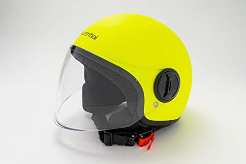 EXSENTIAL Demi Jet EX 631 VL - Casco amarillo fluorescente mate Helmet Helme Casque Capacete Scooter Moto XL