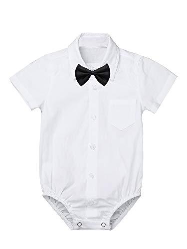 iixpin Baby Body Jungen Kurzarm Strampler Hemd-Body Gentleman Hemd Shirt Smoking mit Krawatte Geburtstag Hochzeit Kleidung Gr. 62-92 Weiß 62