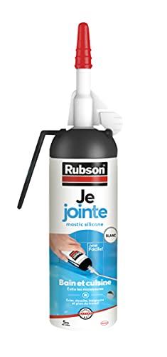 Rubson Je Jointe Mastic Blanc 100 ml, mastic étanche anti-moisissure en aérosol prêt à l'emploi, mastic silicone durable pour joints sanitaires spécial Bain & Cuisine