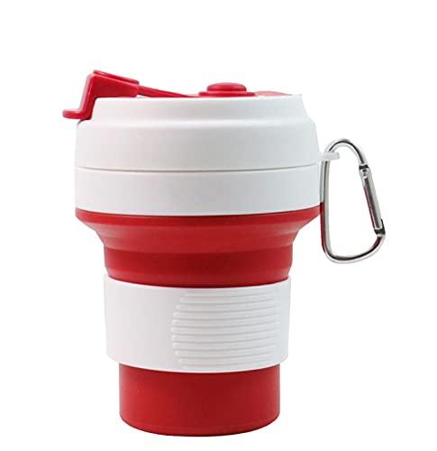 wjmss Taza de Viaje, Taza de café Plegable de Silicona Taza de Agua Deportiva para Viajes/Home/Bebida Diaria/Deportes,Rojo