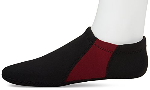 NuFoot Booties Mens Shoes, Foldable & Flexible Footwear, Fold and Go Travel Shoes, Yoga Socks, Indoor Shoes, Slippers, Black with Crimson Stripes, Extra Large