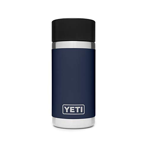 YETI Rambler 12 oz Bottle, Stainless Steel, Vacuum Insulated, with Hot Shot Cap, Navy