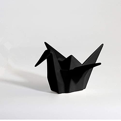 Escultura Deco, Simple Modern Cerámica Negro Crane Grúa Origami Crane Decoración de Escritorio, En Forma de Animal, Esculturas Figuras Animales Estatuillas, para Oficina de Sala de la Sala de Hogar