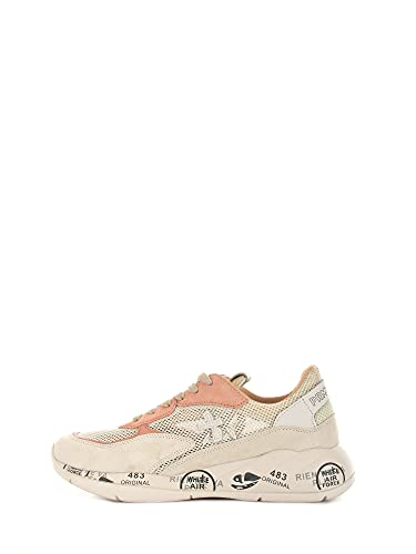 PREMIATA Scarpe Sneakers Donna Scarlett 5230 Camoscio Tela Bianca Rosa