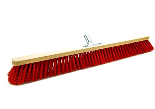 BawiTec Straßenbesen Elaston Eralon rot Kehrbesen 40cm 50cm 60cm 80cm 100cm mit Metallhalter (100cm)
