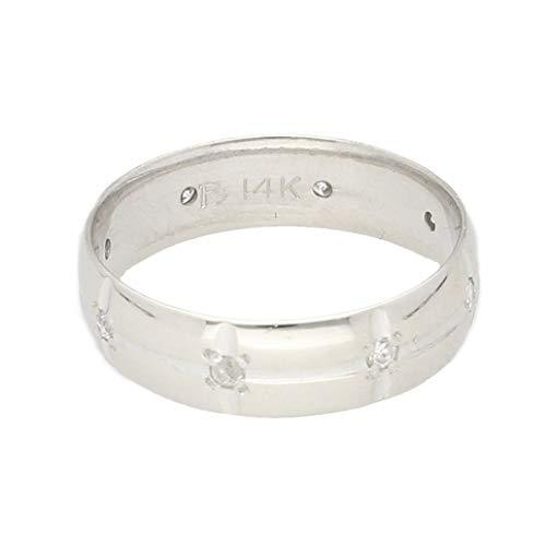 Jollys Jewellers Alianza de boda para hombre de oro blanco de 14...
