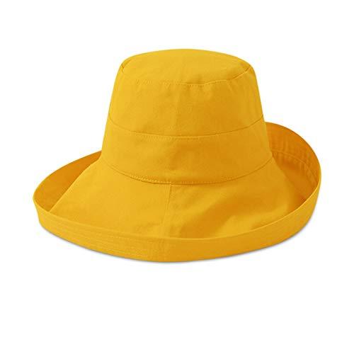 DORRISO Mujer Protección Solar Sombrero Sombrilla Sombrero Sombrero de Viaje Bota Transpirable Gorra de Playa Suelta Gorra Algodón