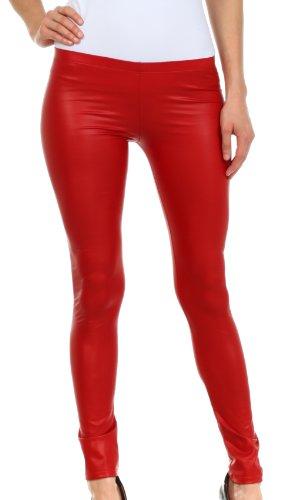 Sakkas FOMatteLiquid8515 Footless Leggings Ultra Slim Fit Matte Flüssigkeit im Wet-Look - rot/Large