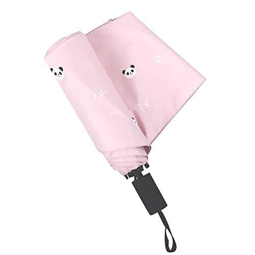 BIGBOBA Regenschirm Pink Automatik Schirm Faltbarer Ersatzschirm Sonnenschirm, Mini, Wind und Wasserdicht UV, Auto, Reise, Panda