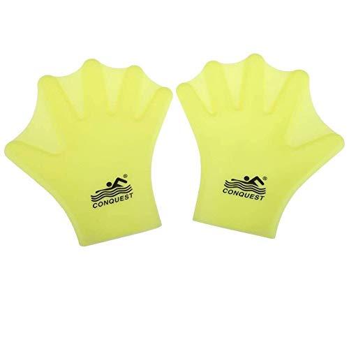 NINIWA Guantes de natación con paletas acuáticas con dedos completos, aletas para hombres y mujeres, buceo, surf, entrenamiento, amarillo, 1 par
