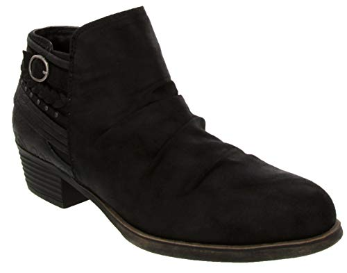 Rampage Booties for Women - Womens Ankle Boots with Block Heel, Ladies Side Zip Booties & Ankle Boots with Buckle and Braided Wraparound Detail | Tyra Black 8.5