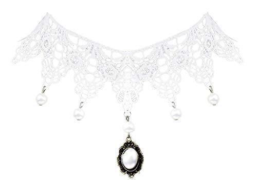 Legisdream Collar de Gargantilla macramé Encaje Blanco con Perlas y Colgante con Piedra Blanca de la joyería Ideas de Regalos para Cada ocasión
