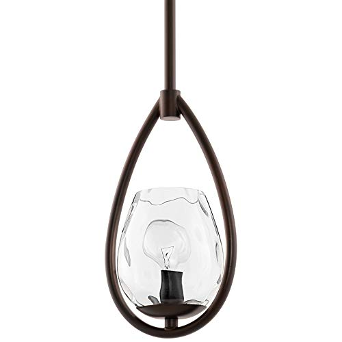 Kira Home Adele 10' Modern Rustic Mini Pendant Light + Hammered Glass Shade, Teardrop Ceiling Light,...