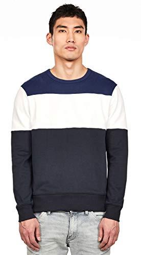 G-STAR RAW Libe Core Round Neck Sweat-Shirt, Bleu (Mazarine Blue/Imperial Blue A497), Small Homme