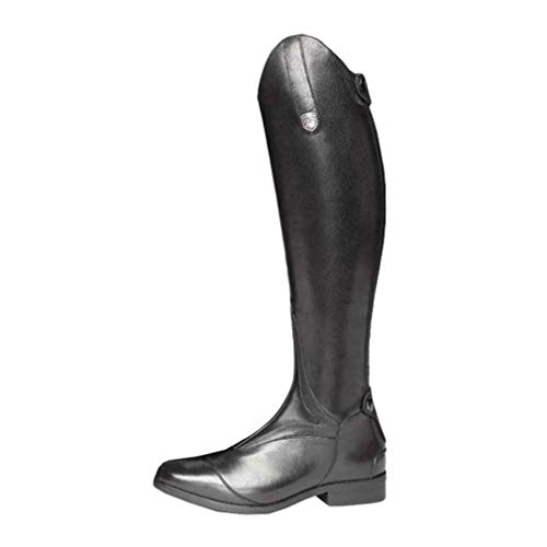 Mxssi Damen Ritterstiefel Retro Reitstiefel Reißverschluss Hohe Stiefel Flache PU Lederstiefel mit Schnallendekoration (38, Schwarz)