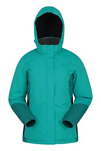 Mountain Warehouse Moon Damen-Skijacke - Schneedicht, Mikrofaser-Isolierung, Winddichte Winterjacke, warm, verstellbare Kapuze - Ski-Bekleidung für den Snowboard-Urlaub Grün 34