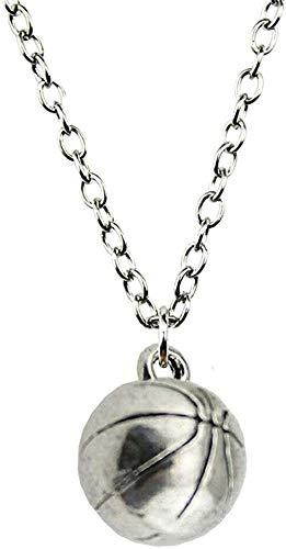 niuziyanfa Co.,ltd Collar de Plata Antigua, Color Bronce Antiguo, Tono 11mm, Colgante de Baloncesto 3D, Collar para Mujer, Regalo de joyería de Moda