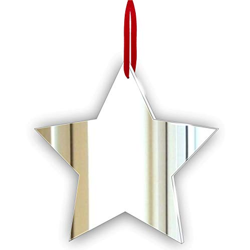 Mirrors-Interiors Shiny Christmas Decoration - Pack of 10 Star Xmas Tree Ornament -Hanging Decoration - Gift Tag - Personalised Stocking Filler