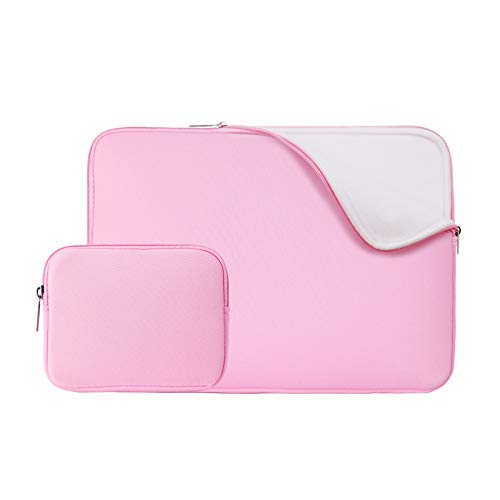 RAINYEAR 15 Inch Laptop Sleeve Protective Case Fluffy Lining Cover Bag with Accessories Pouch, Compatible with New Model 15.4 MacBook Pro Specially for A1938 A1707 A1990(Pink,Upgraded Version)