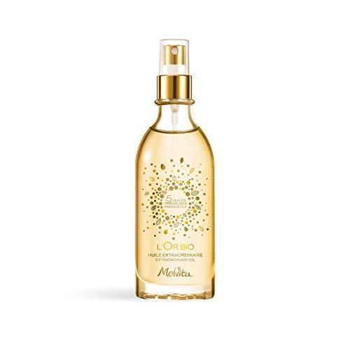 Melvita - Huile Extraordinaire L'Or Bio - Soin Visage, Corps et Cheveux - 50% d'Huile d'Argan Bio - Certifié Bio, 100% Naturel, Vegan - Fabriqué en France - Flacon Pompe 100 ml