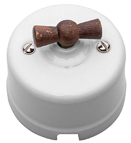 Interruptor de cerámica unipolar de superficie. Manecilla haya envejecida.
