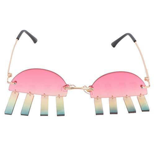 PRETYZOOM Gafas de Sol sin Montura Gafas de Sol Irregulares Vintage Anteojos de Borla Gafas Novedosas Divertidas Accesorios para Fotos para Mujeres Hombres Niñas Favores de Fiesta de Año