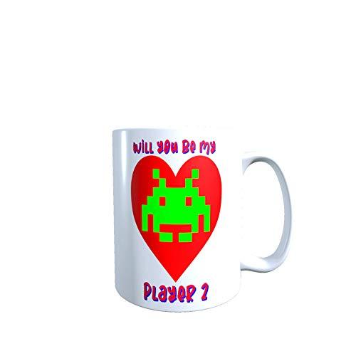 Taza de cerámica con texto en inglés 'Will You Be My Player 2' de Valentine/Anniversary Space Invaders 'Will You Be My Player 2' de 325 ml