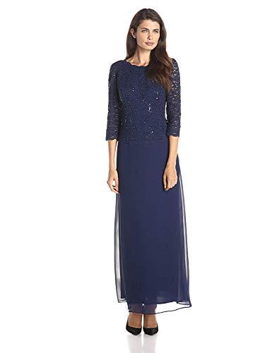 Alex Evenings Women's Long Mock Dress with Full Skirt (Petite and Regular Sizes), Navy, 12