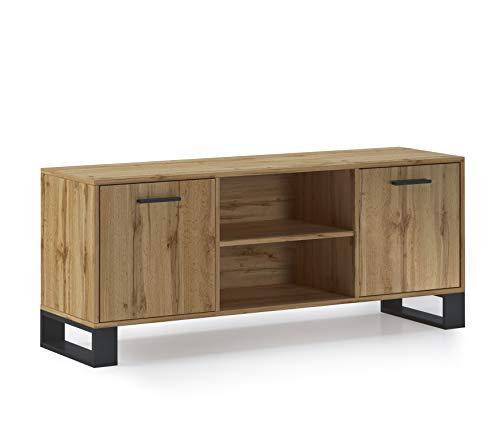 Home Innovation - Meuble TV 140 avec 2 Portes, Salon, modèle LOFT, Couleur de la Structure et des Portes Chêne Rustique, Mesure 137x40x57cm de Haut.