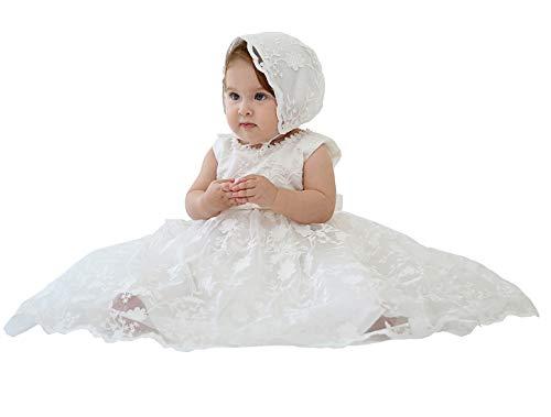 Happy Cherry Robe de Cérémonie Bébé Fille Robe Baptême en Dentelle Nouveau-né Robe Princesse Blanche Fille pour Anniversaire Shotting Photo 18-24 Mois