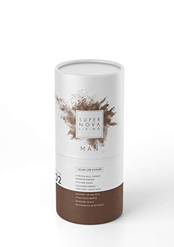 Supernova Living Vegan Plant-Based Protein Powders - Man 02, 480g - Gluten & SOYA Free, Organic Pea Protein, Brown Rice, Maca, Ashwagandha, Camu Camu, Chaga, Superfood Adaptogens - Chocolate Flavour