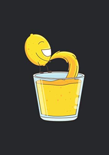 Notizbuch A5 dotted, gepunktet, punktiert mit Softcover Design: Zitronen Limonade - Zitrone pinkelt ins Glas Witz Spaß: 120 dotted (Punktgitter) DIN A5 Seiten