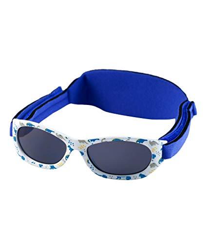 Kiddus Gafas de sol Baby para bebés NIÑOS chicos, desde 0 meses a 2 años, 100% protección UV, MUY CÓMODAS gracias a la SUAVE banda ajustable, el regalo ideal para recién nacidos. (Dino)
