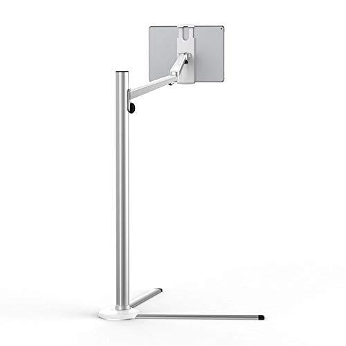 scosao Soporte de Suelo para iPad, Soporte de pie para Teléfono Celular y Tableta,rotación de 360 Grados, Altura Ajustable 12.2-42.5inch, Aleación de Aluminio, Soporte Universal de 3.5~13 Pulgadas,