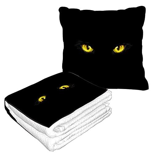 Manta de viaje con ojos de gato negro, diseño de ojos amarillos miedo Boo Terror Party Evil Art Manta de forro polar suave, plegable y compacta para asiento de coche, viajes, decoración del hogar