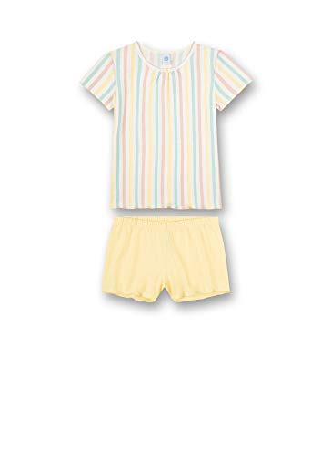Sanetta Mädchen Pyjama Short Stripe gelb Pyjamaset, Lemon, 164