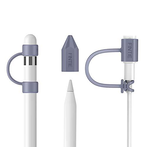 FINTIE [3 Pezzi Accessori Compatibile con Pencil 1a Gen - Silicone Tappo Stylus e Pennino Punta Cover, USB Cavo Holder Compatibile con iPad 10.2, iPad 9.7, iPad Mini 5 Pencil, Grigio