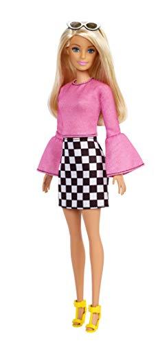 Barbie FXL44 - Fashionistas Puppe im schwarzweiß-karierten Rock mit blonden Haaren und Sonnenbrille, Puppen Spielzeug ab 3 Jahren