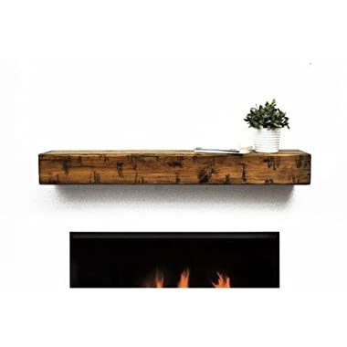 Dogberry Collections Rustic Mantel Shelf, Aged Oak, 60