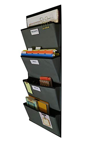BitByBit Hanging File Organizer | Over The Door File Organizer | Fabric File Organizer for Magazines, Notebooks, Mail, Books, Office Supplies and More | 4 Pockets (Grey on Black)